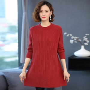 打底衫女秋冬中长款加厚百搭洋气中年妈妈装针织上衣宽松大码套头毛衣