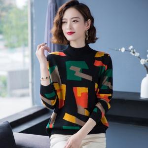 2020新款秋冬季半高领女士花色羊毛衫