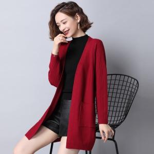 针织衫开衫女中长款春秋季新款韩版宽松外搭披肩女装百搭毛衣外套