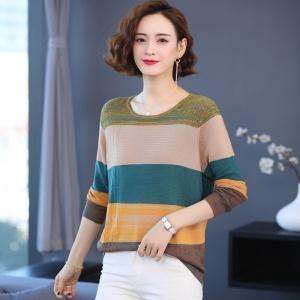 早春秋装毛衣女士2021年新款条纹拼色洋气圆领针织打底衫上衣百搭