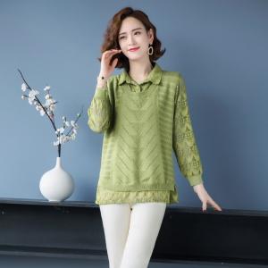 蕾丝衬衫拼接假两件套毛衣女2021春装宽松气质上衣薄款针织打底衫