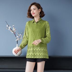 假两件上衣蕾丝拼接毛衣气质女装早春装2021年新款针织打底衫秋冬