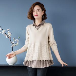 毛衣女士2021新款早春秋假两件针织拼接衬衣领百搭气质打底衫上衣