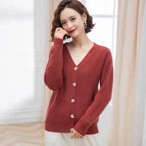 2021春秋新款纯色毛衣开衫女短款V领薄款针织打底衫百搭小外套