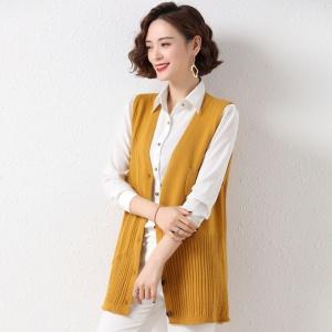 针织V领背心马甲女开衫外穿新款韩版宽松麻花纹无袖坎肩毛衣潮