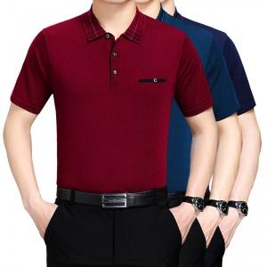 中年男士针织冰丝短袖翻领上衣宽松大码T恤衫