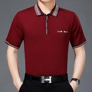 中年男士针织衫翻领短袖上衣t韩版宽松大码夏季冰丝T恤衫半袖男装