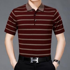 中年男士针织衫夏装宽松大码方领冰丝上衣T恤衫