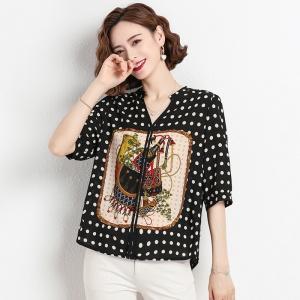 新款春季女装时尚圆点印花宽松真丝雪纺衫
