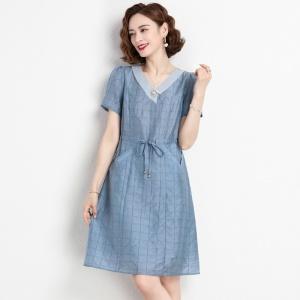 夏季新款时尚v领天丝系带收腰中长款连衣裙