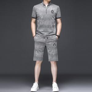 夏季男士格子短袖短裤一套立领个性套装