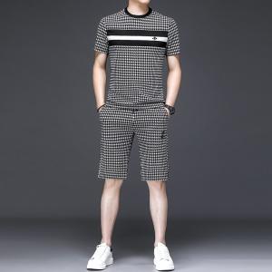 夏季男士格子短袖短裤一套圆领个性套装