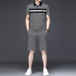 夏季男士格子短袖短裤一套翻领个性套装