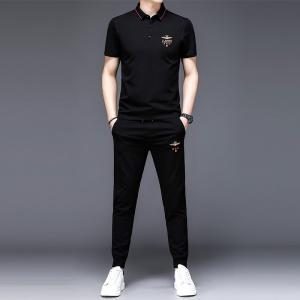 男士夏季翻领短袖长裤两件套