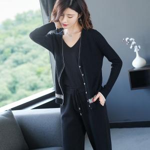 2021春季新款时尚女装羊毛宽松针织开衫